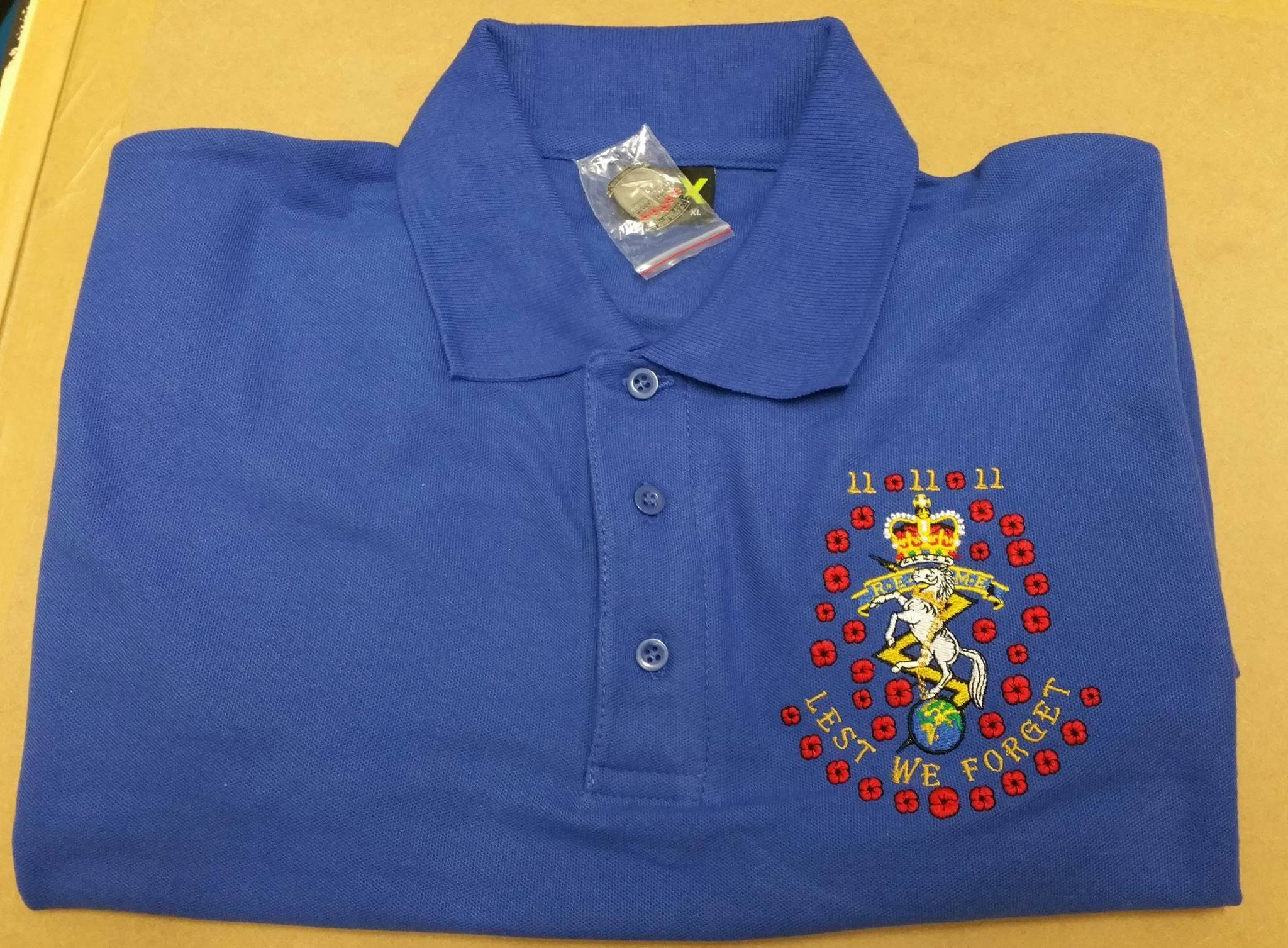 33010dc4e5c REME   LEST WE FORGET   POPPY Embroidered polo shirt (inc free 100th  Anniversary Pin badge)