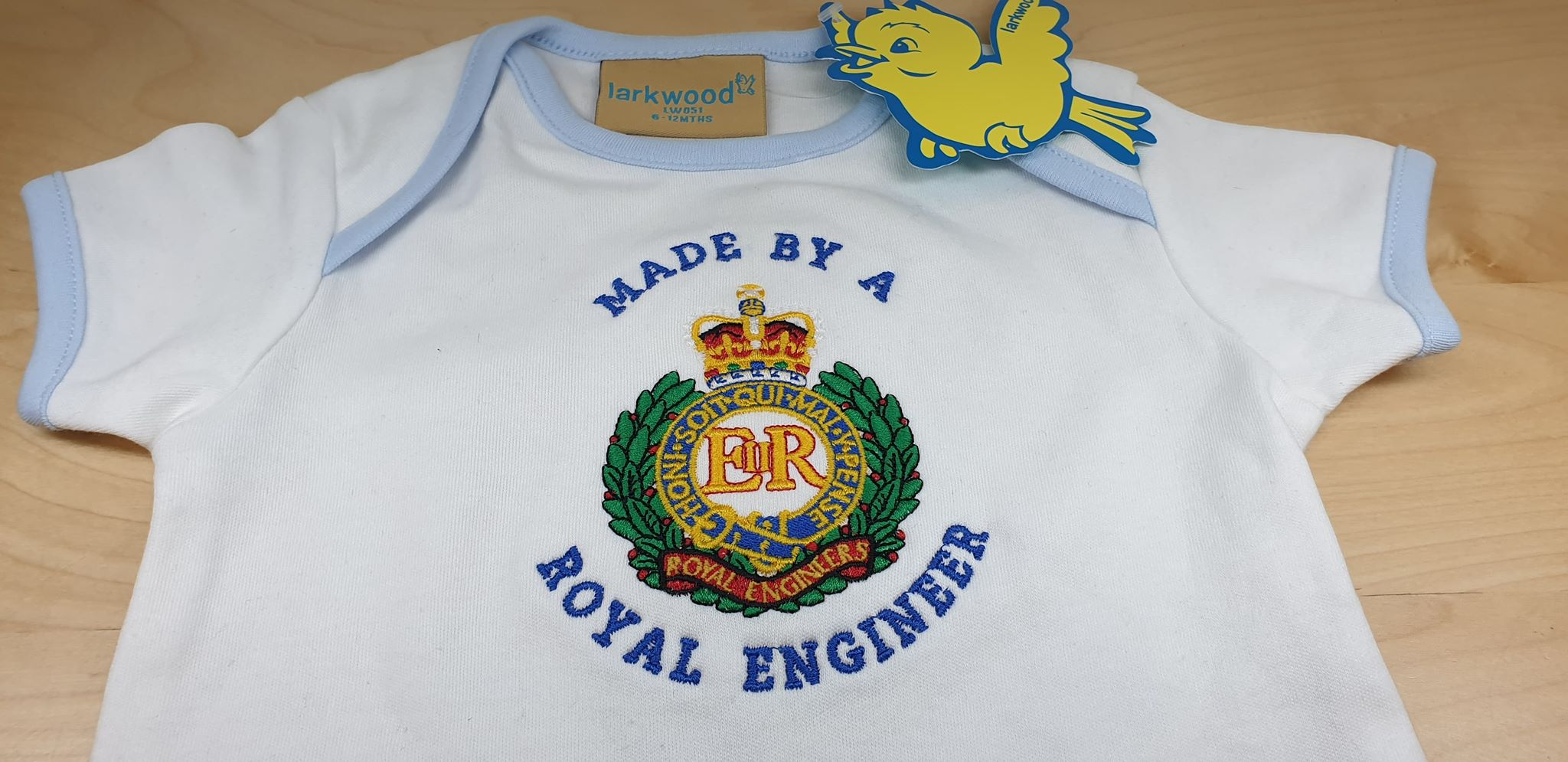 a5ec85269895 Made By A ROYAL ENGINEER Baby Contrast Body suit. £10.99. Short sleeved  bodysuit. Envelope neck line